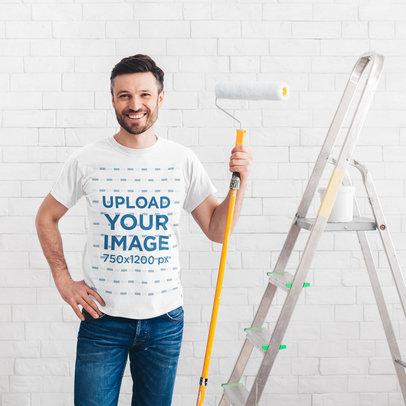 T-Shirt Mockup Featuring a Man Painting a Wall 46096-r-el2