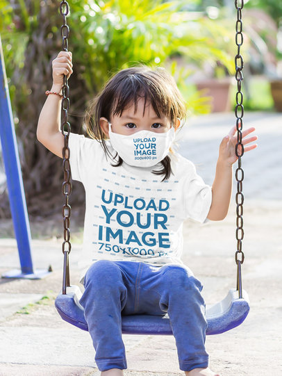 Face Mask Mockup Featuring a Kid with a T-Shirt on the Swings 46269-r-el2