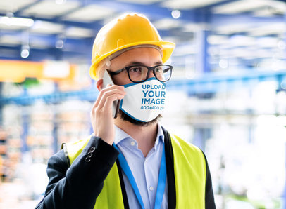 Face Mask Mockup Featuring a Civil Engineer Making a Call 46038-r-el2
