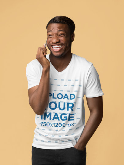 V-Neck Tee Mockup of a Man Laughing While Making a Call 46078-r-el2