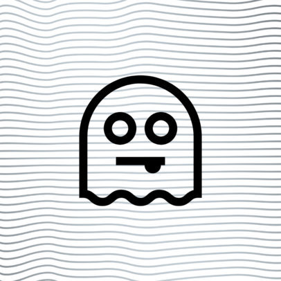 Monochromatic Patreon Profile Picture Design Template Featuring a Ghost Icon 3400a-el1