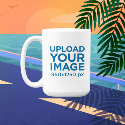 15 Oz Mug Mockup Featuring a Vaporwave-Styled Illustrated Background m1019