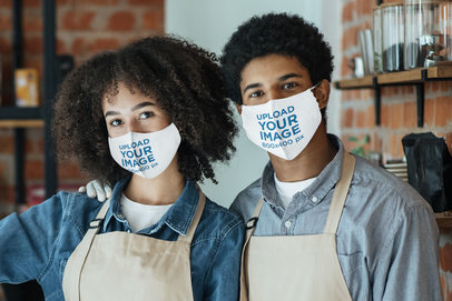 Face Mask Mockup Featuring Two Baristas at Work 46448-r-el2