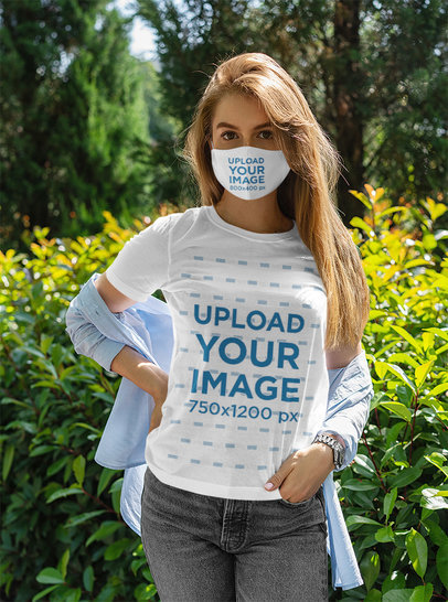 Face Mask Mockup of a Long-Haired Woman Wearing a Basic T-Shirt 5002-el1