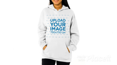 Pullover Hoodie Video Featuring a Smiling Woman Posing at a Studio 44702v