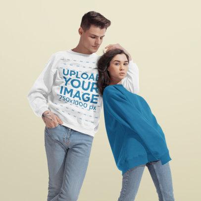 Sweatshirt Mockup of a Man Posing at a Studio with His Girlfriend 46585-r-el2