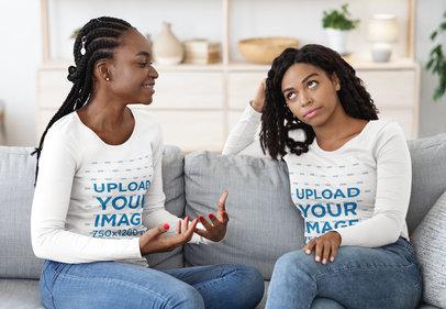 Long Sleeve Tee Mockup of Two Female Friends Talking at Home 46131-r-el2