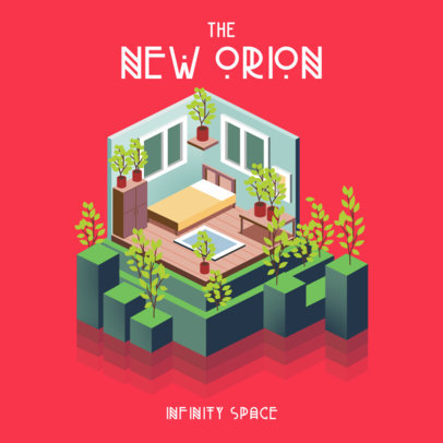 Album Art Maker for Indie Music Artist Featuring an Isometric Bedroom Illustration 3313b