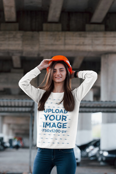 Sweatshirt Mockup Featuring a Smiling Woman with a Safety Helmet 46542-r-el2