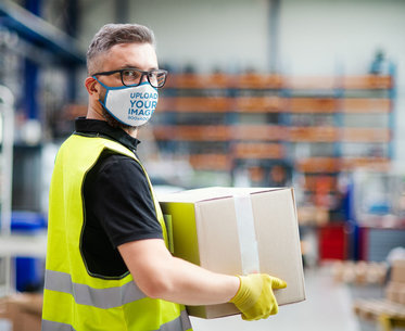 Face Mask Mockup of a Worker Moving a Box 46032-r-el2