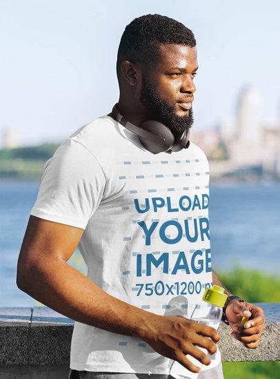 T-Shirt Mockup of a Man Jogging by the River 46351-r-el2