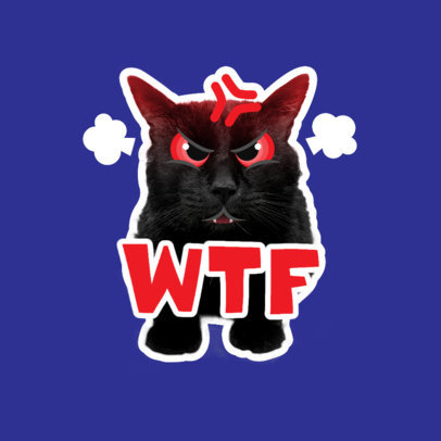 Twitch Emote Logo Template Featuring a Furious Cat Graphic 3983d
