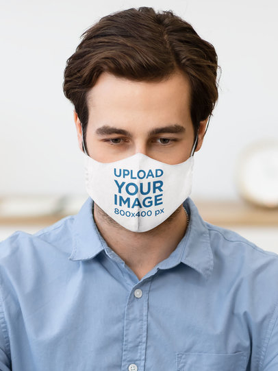 Mockup Featuring a Serious Man Wearing a Face Mask 46635-r-el2
