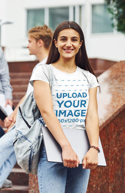 Heather Tee Mockup Featuring a Young Woman on Campus 46547-r-el2