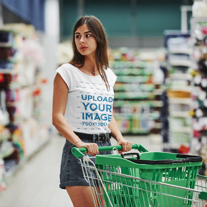 T-Shirt Mockup of a Long-Haired Woman at the Supermarket 46524-r-el2