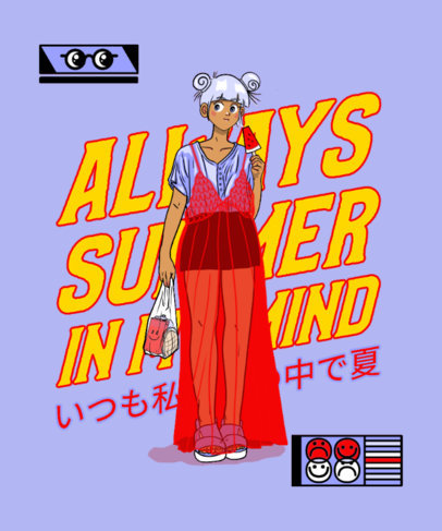 T-Shirt Design Maker Featuring a Fashionable Anime Girl Clipart 3305c