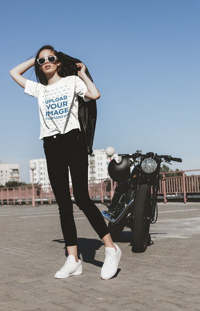 T-Shirt Mockup Featuring a Woman Standing by Her Motorcycle 41702-r-el2