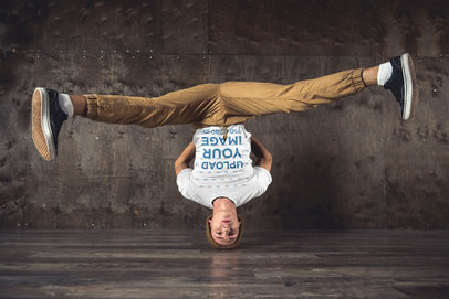 T-Shirt Mockup Featuring a Breakdancer Standing on His Head 46574-r-el2