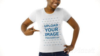 Cropped Face Video of a Woman Wearing a T-Shirt in a Studio 44084v