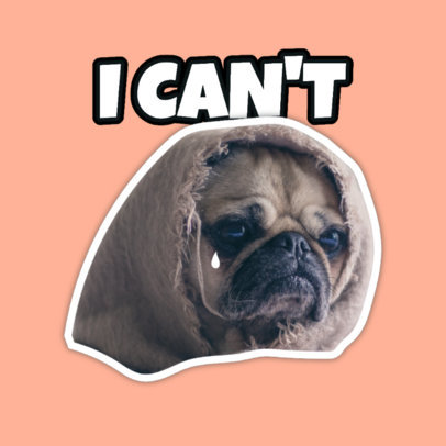 Twitch Emote Logo Generator Featuring a Sad Pug Graphic 3980d
