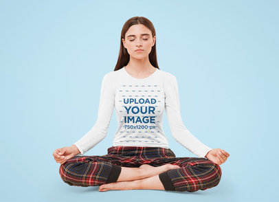Long Sleeve Tee Mockup of a Woman Meditating in a Studio 46049-r-el2
