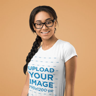 Basic Tee Mockup Featuring a Happy Woman With Glasses Against a Plain Background 46357-r-el2