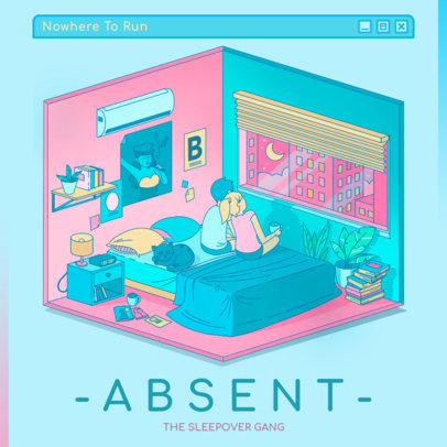 Synth-Pop Album Cover Generator with a Nostalgic Illustration 3312c