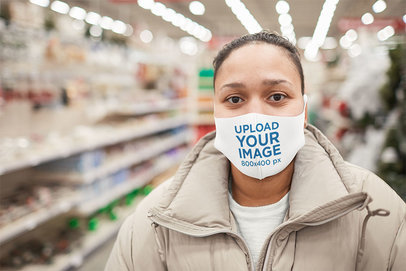 Mockup of a Woman Wearing a Face Mask at the Supermarket 46731-r-el2