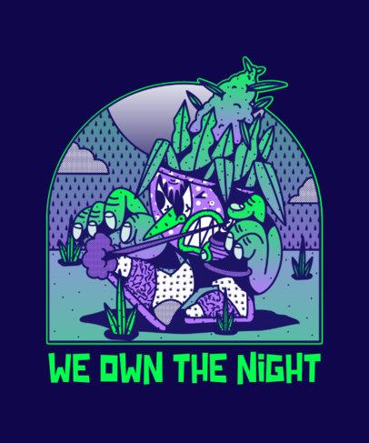 Hip Hop-Themed T-Shirt Design Template with Cartoonish Illustrations 4005