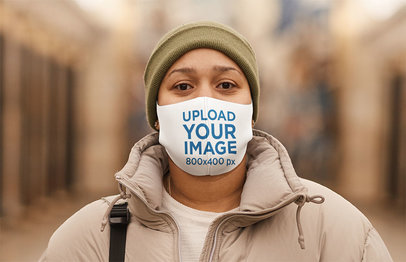 Face Mask Mockup of a Woman Wearing a Winter Outfit 46727-r-el2