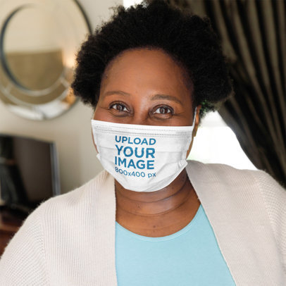 Mockup of a Happy Curly-Haired Woman Wearing a Sublimated Face Mask 46596-r-el2