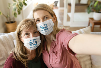 Face Mask Mockup of a Woman and Her Mother Taking a Selfie 46602-r-el2