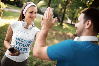 T-Shirt Mockup Featuring a Happy Woman After a Workout 46488-r-el2