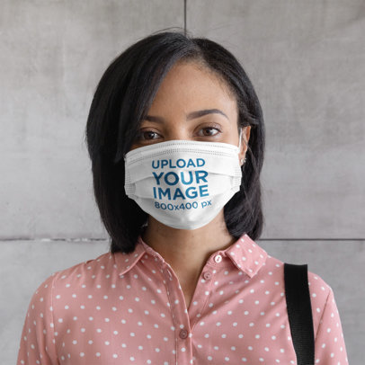 Face Mask Mockup of a Woman Against a Concrete Wall 46600-r-el2