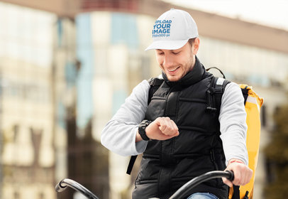 Dad Hat Mockup of a Delivery Man on a Bicycle 42106-r-el2