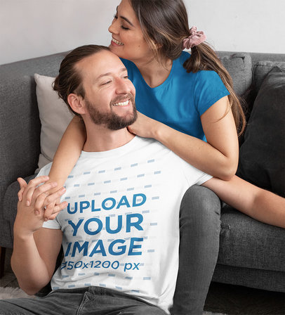 T-Shirt Mockup Featuring a Happy Man with His Girlfriend m1114
