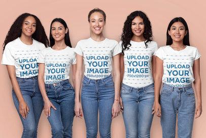 T-Shirt Mockup of Five Women Smiling in a Studio 45973-r-el2