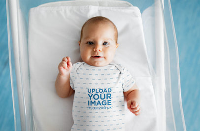 Onesie Mockup of a Baby Lying in a Crib 45747-r-el2