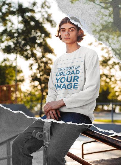 Sweatshirt Mockup of a Cool Young Man Sitting at a Skating Park 5026-el1