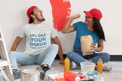 Basic T-Shirt Mockup Featuring a Man Having Fun With His Girlfriend m1067