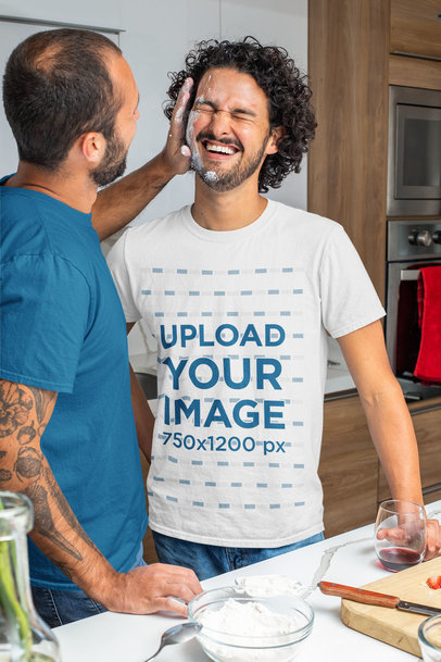 T-Shirt Mockup Featuring an LGBT Couple Having Fun While Cooking m1065