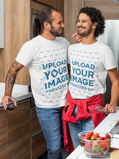 T-Shirt Mockup Featuring a Happy Man and His Boyfriend in the Kitchen m1061