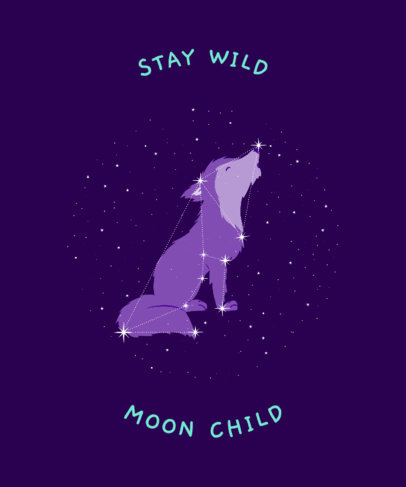 Kid's T-Shirt Design Maker Featuring a Wolf Constellation Clipart 3318c