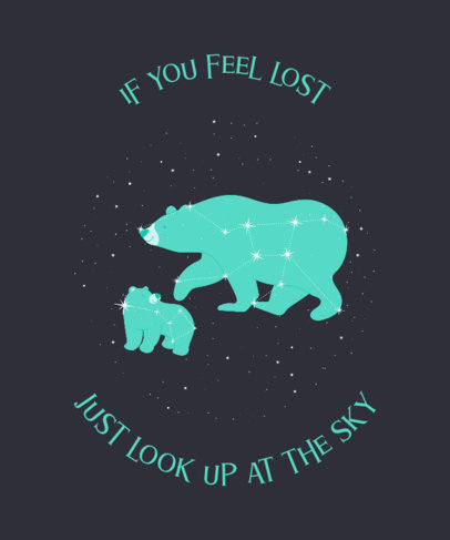 Illustrated T-Shirt Design Template Featuring Two Bear Constellations 3318f