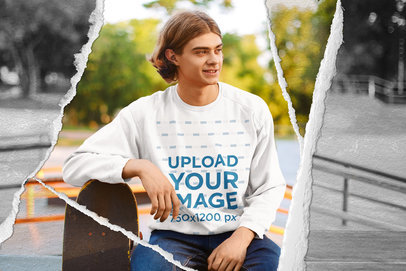 Sweatshirt Mockup of a Young Man with a Ripped Paper Frame 5027-el1