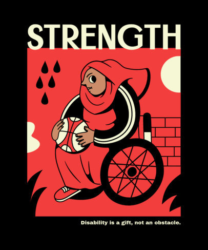 Basketball-Themed T-Shirt Design Creator Featuring a Woman Using a Wheelchair 3323b