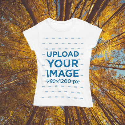Mockup of a Woman's T-Shirt with a Customizable Autumn Background m1101
