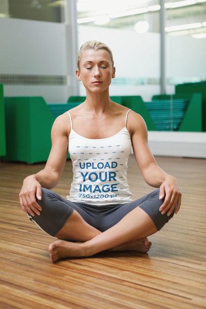 Spaghetti Strap Tank Top Mockup of a Fit Woman Meditating 46934-r-el2
