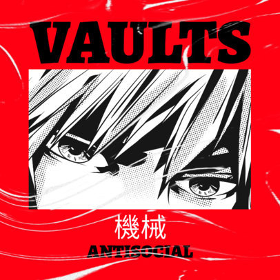 Album Cover Maker With a Manga Character for a Rock Music Project 3327b