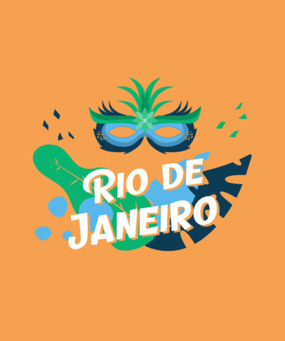 T-Shirt Design Template Featuring a Brazilian Carnival Mask 3454e-el1